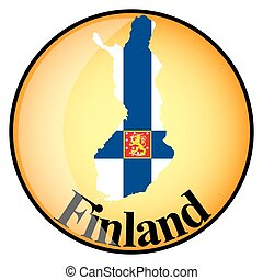 orange button with the image maps of button Finland Islands