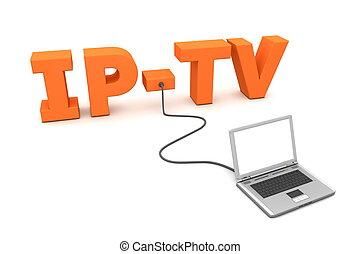 orange, câble, ordinateur portable, ip-tv, -