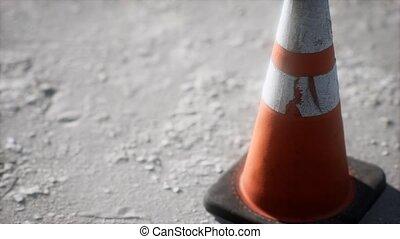 orange, cône, trafic, rayé, blanc