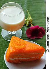 Orange cake and milk