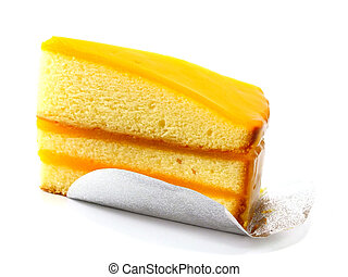 orange cake on white background