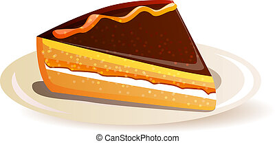 Orange cake with chocolate isolated on white background
