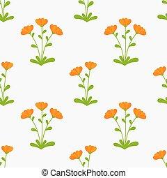 Orange Calendula flowers seamless pattern. Vector illustration.