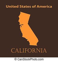 Orange California map - vector illustration.