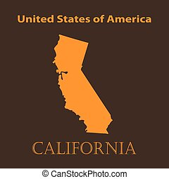 Orange California map - vector illustration.
