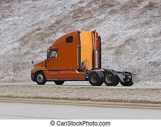 orange, camion, semi
