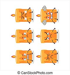 Orange candle cartoon character with various angry expressions