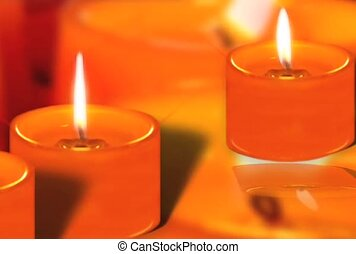 Orange Candles With Flames