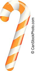 Orange candy cane on white