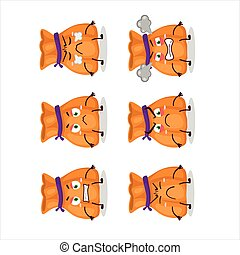 Orange candy sack cartoon character with various angry expressions
