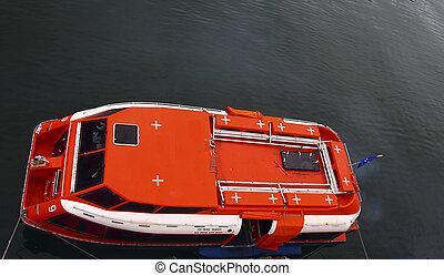 orange, canot de sauvetage, au-dessus