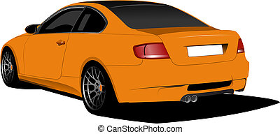 Orange car-coupe on the road. Vect