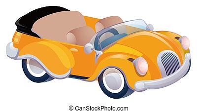 orange car - Closeup of a red classic convertible sports car