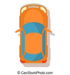 Orange car icon, cartoon style