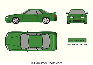 Orange car on a white background. Top, front and side view. The vehicle in flat style