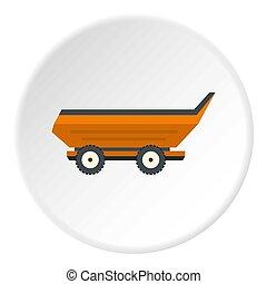 Orange car trailer icon circle