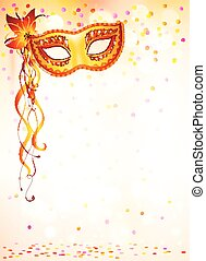 Orange carnival mask on pink bokeh light background
