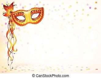 Orange carnival mask on pink bokeh light background - Orange...
