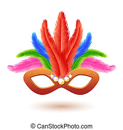 Orange Carnival Mask with Feathers