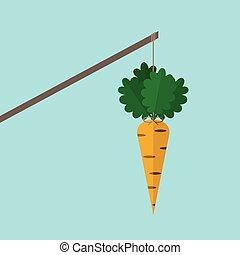 Orange carrot on stick