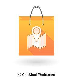 orange, carte, icône, sac à provisions