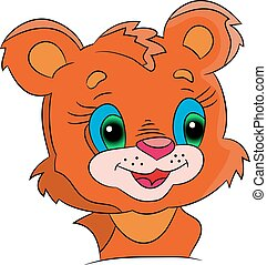orange cartoon baby lion at the white background