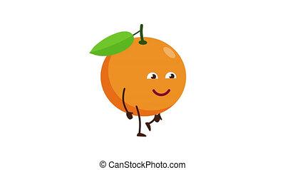 Orange cartoon character walking and smile