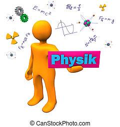 Orange cartoon character with german text Physik, translate Physics.