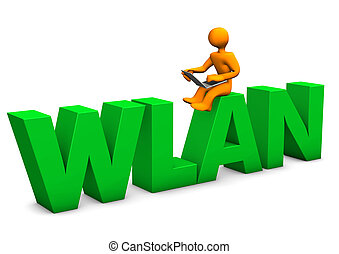 "Orange cartoon character with laptop and big text ""WLAN""."