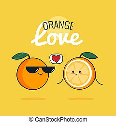 Orange cartoon characters, Cute fruit couple, Vintage poster flat design with Vector illustration