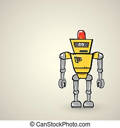 orange Cartoon doodle Robot