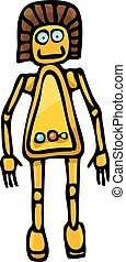 orange Cartoon doodle Robot on white