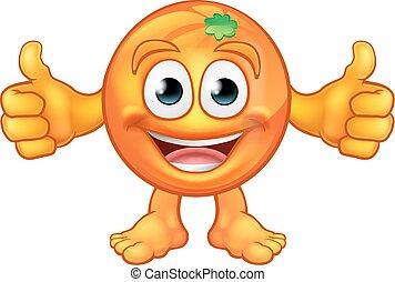 Orange Cartoon Fruit Mascot Character