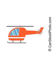 Orange cartoon Helicopter isolated on white background. Vector Illustration