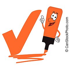 Orange cartoon highlighter pen with bold tick or check mark.