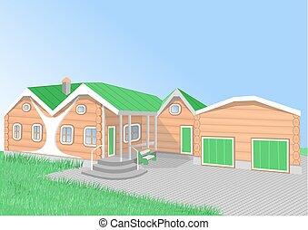orange cartoon house