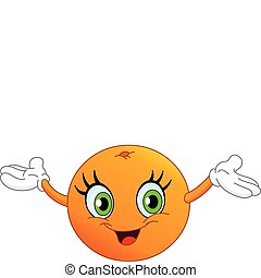 Orange - Cartoon orange raising her hands