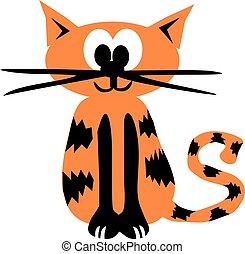 Orange cartoon tiger cat