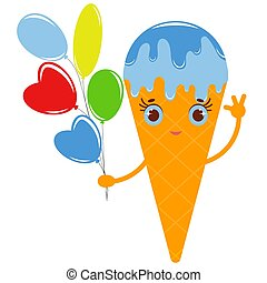 Orange cartoon waffle cone ice cream with colorful balloons of different shapes. Flat colored drawing on a white background.