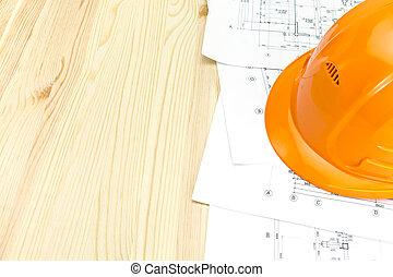 orange, casque, construction, plans