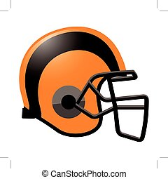 orange, casque, football, couleur