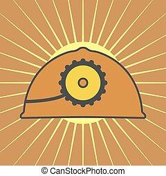 orange, casque, lampe, vecteur, mine