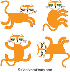 orange cat collection vector illust