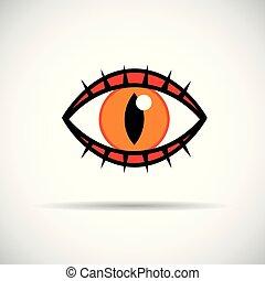 orange cat eye with eyelashes icon