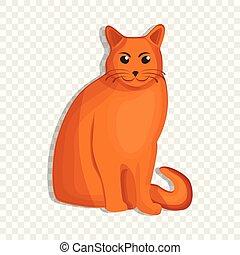 Orange cat icon, cartoon style