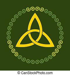 Orange Celtic triangle knot in double spiral circle frame over green