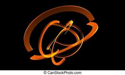 orange, cercles, moitié