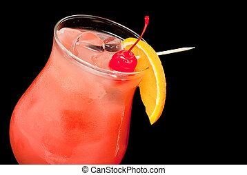 orange, cerise, closeup, rouges, cocktail