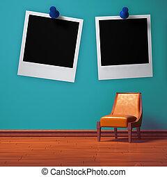 Orange chair in blue minimalist interior