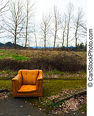 Orange Chair Urban Decay - Urban decay and an abandoned...